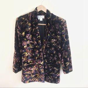 Gabiano Vintage Long Velvet Floral Blazer Jacket